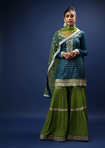 Peacock Blue And Green Sharara Suit With Thread And Sequins Work All Over Along With Zardosi Accented Neckline Online - Kalki Fashion