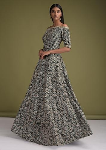 Peacock Blue Indowestern Gown In Silk With Off Shoulder Neckline And Thread Work In Ethnic Jaal Online - Kalki Fashion