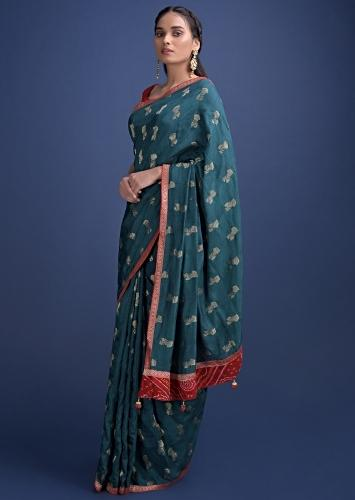 Peacock Green Saree In Cotton Silk With Weaved Floral Buttis All Over Online - Kalki Fashion
