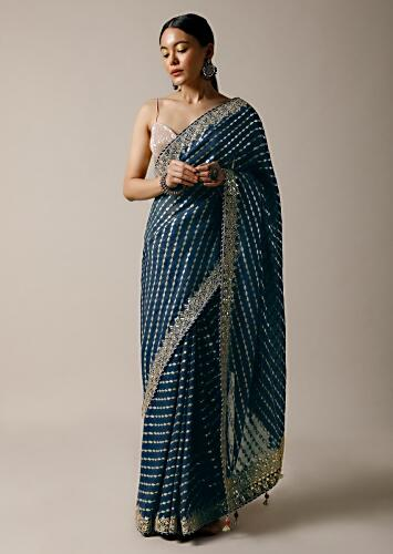 Peacock Green Saree In Brocade Silk With Woven Stripes And Gotta Embroidered Border Along With Unstitched Blouse Online - Kalki Fashion