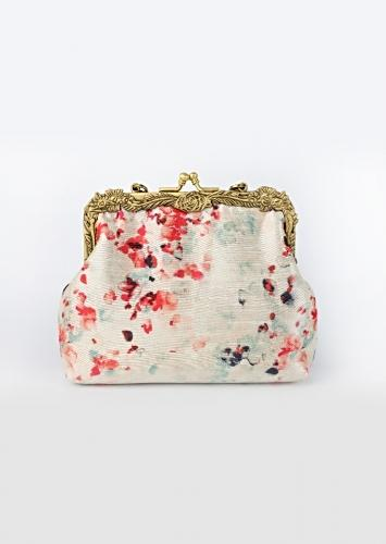 Pearl White Clutch With Multi Colored Water Color Print By Vareli Bafna