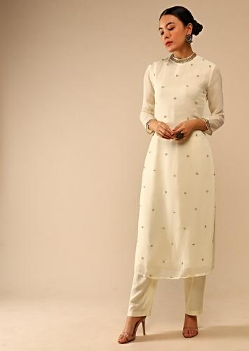 Pearl White Straight Cut Suit Without dupatta in Sequin Embellished Buttis Online - Kalki Fashion