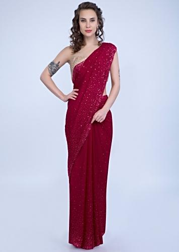 3f24aede8cae47 Pearls and sequins studded cherry red crepe saree only on Kalki