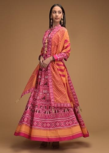 Persian Pink Anarkali Suit With Patola Printed Jaal And Contrasting Yellow Geometric Printed Dupatta Online - Kalki Fashion