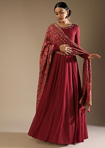 Persian Red Anarkali Suit In Georgette With A Multi Colored Resham And Abla Embroidered Floral Jaal On The Dupatta Online - Kalki Fashion