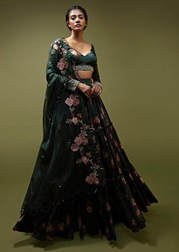 Pine Green Lehenga Choli In Satin With Floral Print And Moti Work Along With A Loop Detailed Organza Dupatta Online - Kalki Fashion