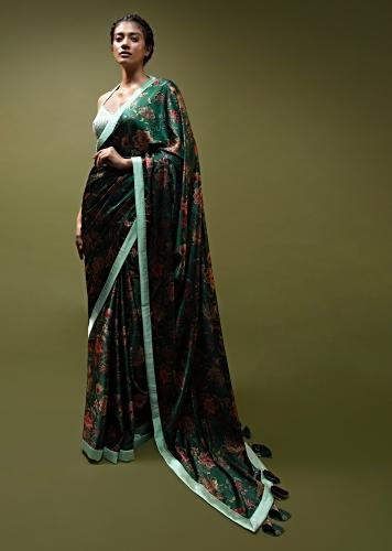 Pine Green Saree In Satin With Floral Print And Mint Sequins Blouse With Halter Neckline Online - Kalki Fashion