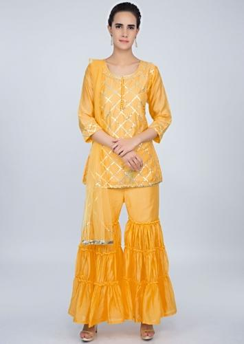 2d3bdea70f Pine yellow sharara suit set in lace jaal embroidery only on kalki