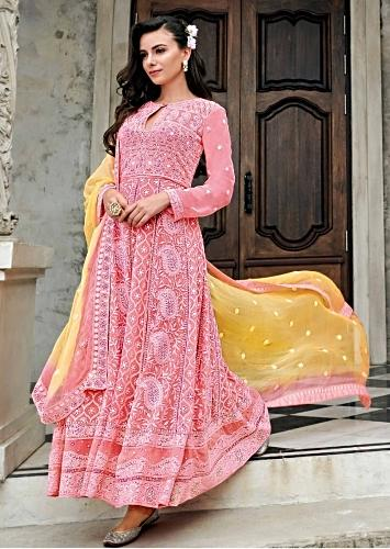 ad03e7559b Pink anarkali suit in chiffon with paisley motif embroidery in thread work