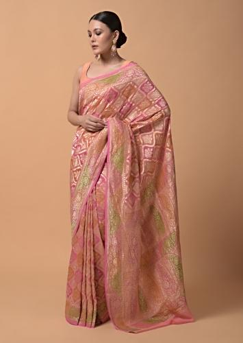 Pink And Peach Shaded Georgette Saree With  With Weaved Jaal Design Online - Kalki Fashion