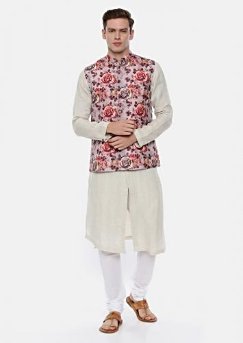 Pink And Red Modi Jacket In Linen With Floral Print By Mayank Modi