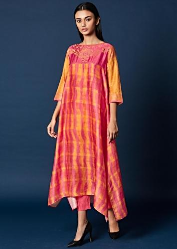 1a1e58da90c Pink And Yellow Shaded Top In Cotton Silk With Thread Embroidered Yoke