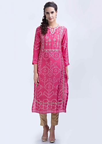 f2d0917248 Pink bandhani printed straight kurti with center panel embroidery only on  Kalki
