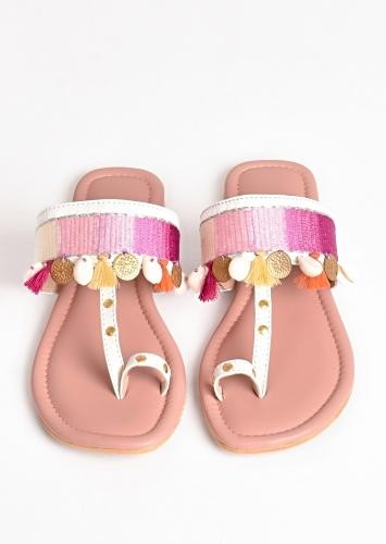 Pink Ombre Kolhapuri Flats With Conchas, Tassels And Coins By Sole House