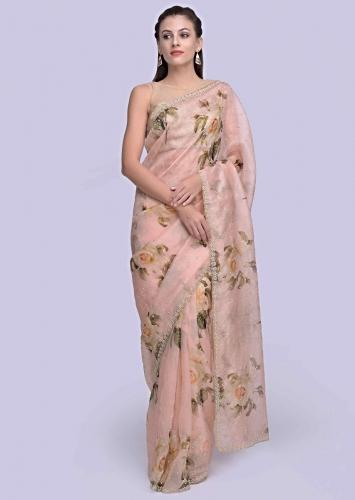 69d4bd4d1c Pink organza saree with floral printed butti only on Kalki