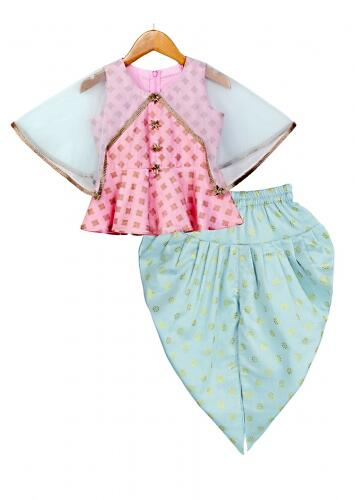 Pink Peplum Top And Blue Dhoti Set Topped With A Matching Net Cape Online - Free Sparrow