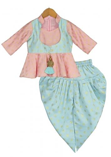Pink Peplum Top With Blue Attached Jacket And Dhoti Adorned With Foil Printed Buttis Online - Free Sparrow
