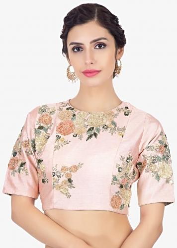 Pink Blouse In Raw Silk With Velvet And Zari Floral Embroidery Online - Kalki Fashion