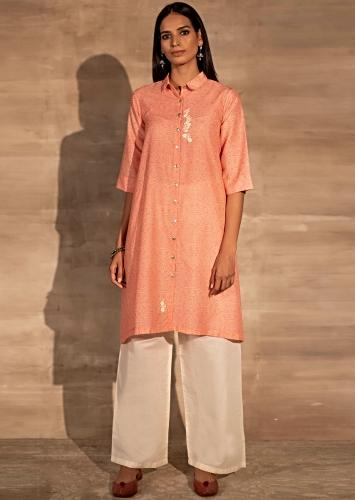 Pink Shirt Styled Tunic In Muslin With Bandhani Print And Collar Necklne Online - Kalki Fashion