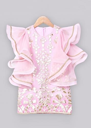 Pink Ombre Dress In Georgette With Asymmetric Bell Sleeves Online - Free Sparrow