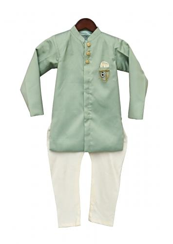 Pista Green Ajkan With Off Churidar by Fayon Kids