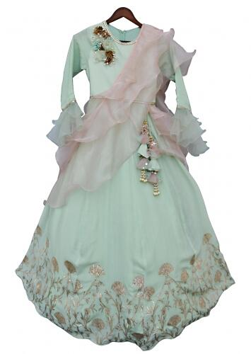 Pista Green Anarkali Suit With Gotta Patch Embroidery In Floral Pattern By Fayon Kids
