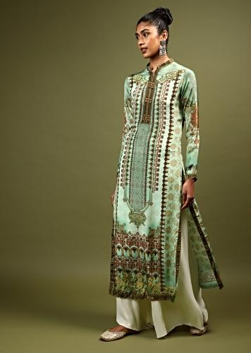 Pista Green Kurti In Crepe With Floral And Mughal Print And Kundan Accents Online - Kalki Fashion