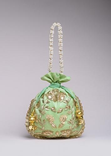 Pista Green Potli Bag In Silk With Hand Embroidered Floral Design Using Sequins And Zardosi Online - Kalki Fashion