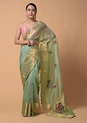 Pista Green Saree In Organza With Hand Embroidered Floral Buttis Using Thread And French Knots Online - Kalki Fashion