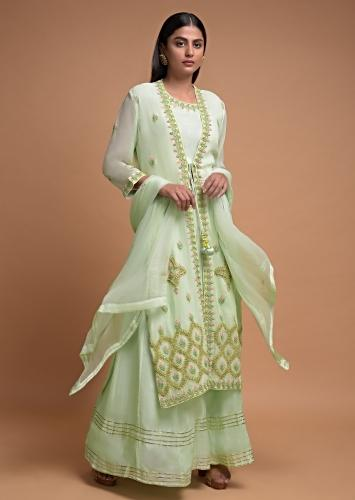 Pista Green Skirt And Crop Top In Cotton With Long Floral Embroidered Jacket Online - Kalki Fashion
