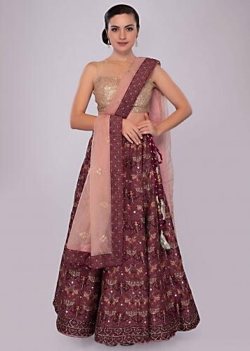 6e9f2a4d1d Plum and maroon shade cotton lehenga with self print and embroidery only on  Kalki