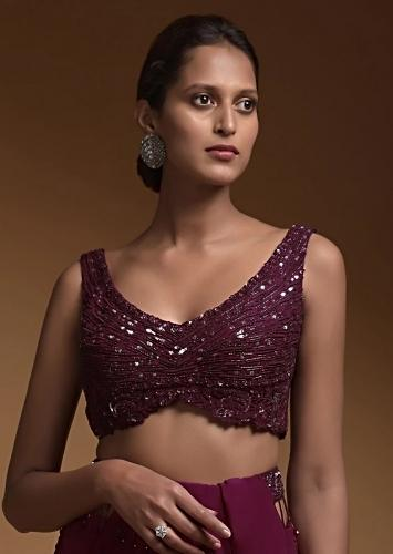 Plum Purple Crop Top With Cut Dana And Sequins Embellished Stripes And Floral Pattern Online - Kalki Fashion