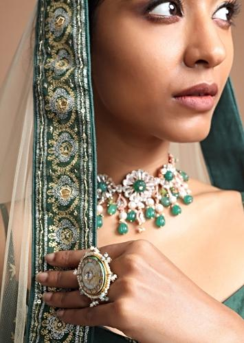 Powder Blue Circular Ring With Minawork Set With Kundan And Moti Borders Along With Beads By Kohar