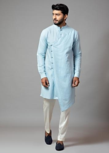 Powder Blue Kurta Set In Linen Designed With Asymmetric Hemline And Paired With Cream Pajama By Smriti Apparels