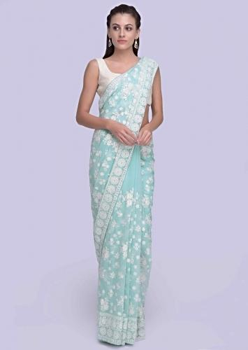 78b460b43e Powder blue lucknowi embroidered georgette saree in floral and paisley motif  only on Kalki