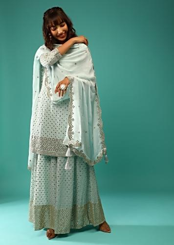 Powder Blue Palazzo Suit In Crepe With Zari And Mirror Embroidered Geometric Jaal Along With Heavy Border Design Online - Kalki Fashion
