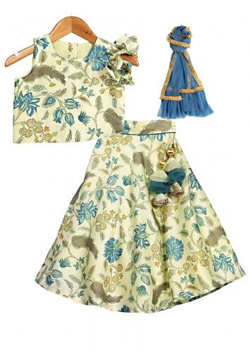 Powder Green Lehenga Choli With Floral Print And Statement Ruffle Sleeve Online - Free Sparrow