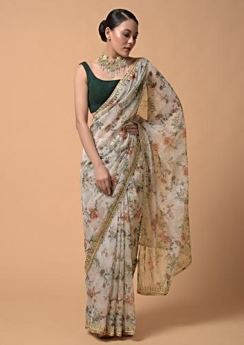 Powder Green Saree In Organza With Floral Print And Moti Accents Online - Kalki Fashion