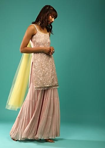 Powder Peach Sharara Suit In Georgette With Pastel Colored Resham And Sequins Embroidered Jaal And Cut Dana Fringes Online - Kalki Fashion