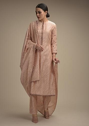 Powder Peach Straight Cut Suit In Cotton With Maroon Bandhani Print And Sequin Accents Online - Kalki Fashion