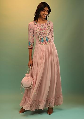 Powder Pink Dress In Georgette With Multi Colored Thread And Beads Embroidered Floral Motifs On The Yoke  Online - Kalki Fashion