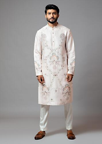 Powder Pink Kurta In Bam Silk With Multi Colored Floral Embroidery All Over And Cream Pajama By Smriti Apparels