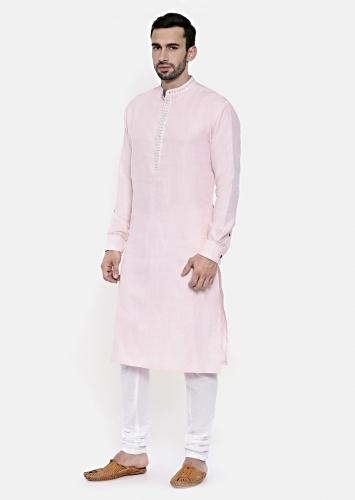 Powder Pink Kurta Set In Linen With Thread Embroidered Collar And Placket By Mayank Modi