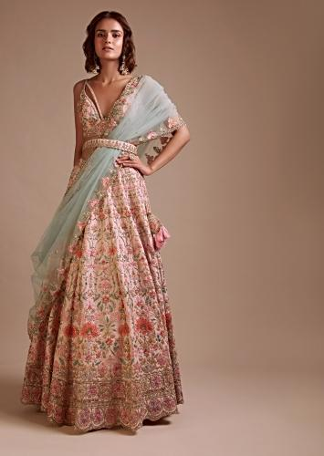 Powder Pink Lehenga Choli In Raw Silk With Multi Colored Resham And Sequins Embroidered Floral Jaal And Ethnic Motifs Online - Kalki Fashion