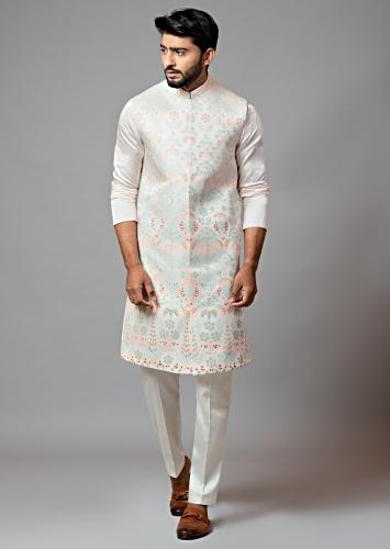 Powder Pink Long Nehru Jacket With Multi Colored Resham Embroidery And Paired With A Plain Kurta And Pajama Set By Smriti Apparels