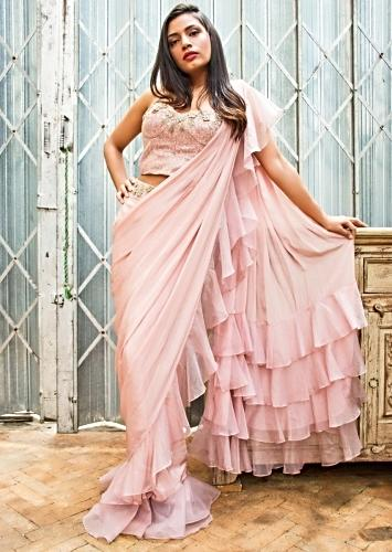 5850dfdd0 Powder Pink Ready Pleated Draped Saree With Hem And Pallo