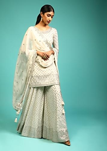 Powder White Palazzo Suit In Crepe With Zari And Mirror Embroidered Geometric Jaal Along With Heavy Border Design Online - Kalki Fashion