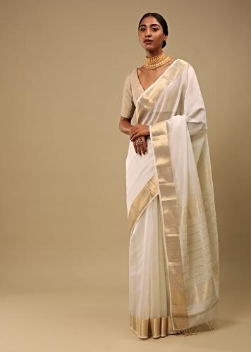 Powder White Saree In Cotton Silk With Woven Border And Stripes On The Pallu Along With Unstitched Blouse Online - Kalki Fashion
