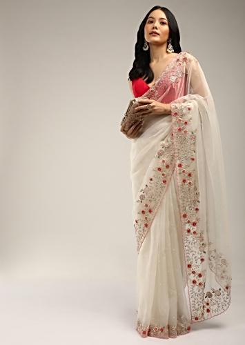 Powder White Saree In Organza With Colorful Resham Flowers On The Border Along With Moti And Cut Dana Accents Online - Kalki Fashion