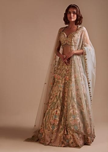 Powder Pink Lehenga Choli With Colorful Hand Embossed Embroidery Detailing In Framed Floral Motifs Online - Kalki Fashion